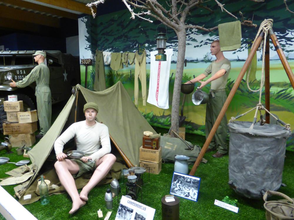 Camp soldat américains Normandie WWII